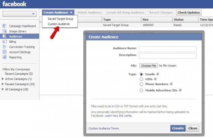 creating a facebook custom audience