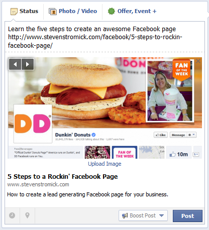 create facebook post