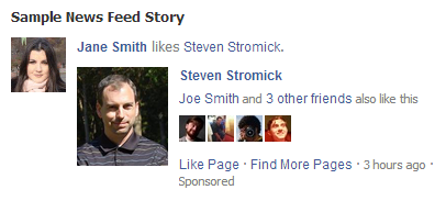 facebook sponsored like ad