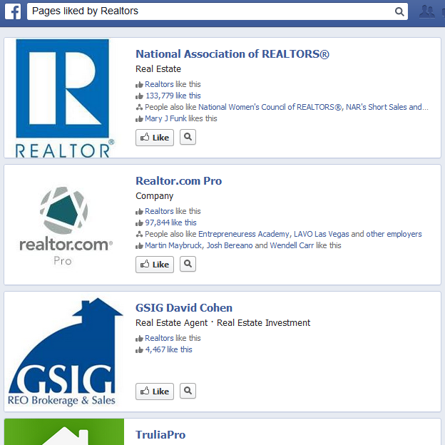 pages liked by realtors