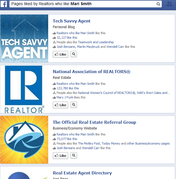 pages liked by realtors who like mari smith