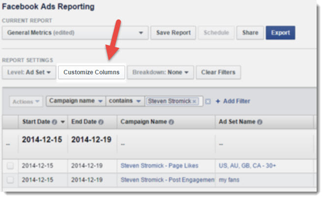 Customize Your Report Columns