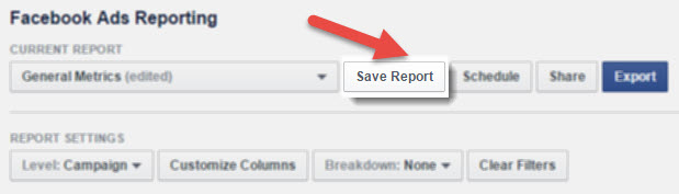 save your facebook ad report