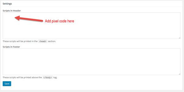adding pixel code to wordpress