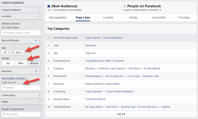 audience insights - selecting an audience