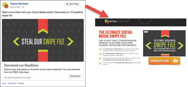 facebook ad and landing page example