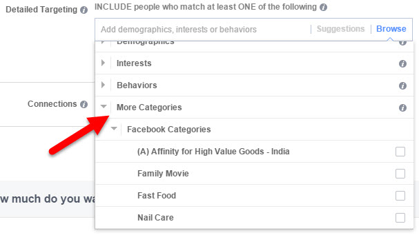 facebook more categories