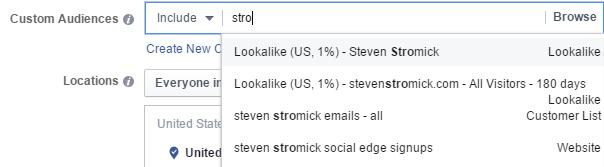selecting a custom audience