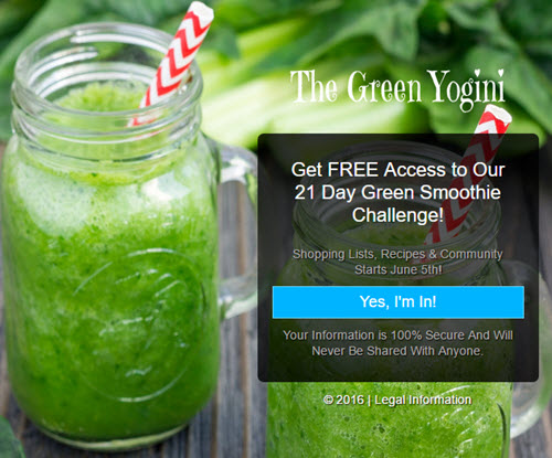 green smoothie challenge lead page