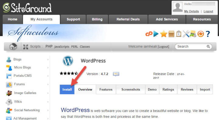 start wordpress install
