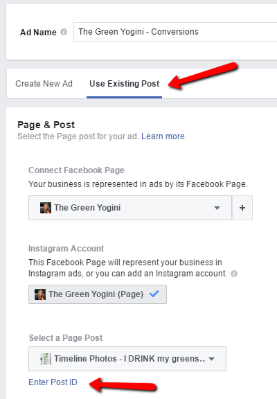 use existing post option
