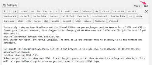 entering html into wordpress editor