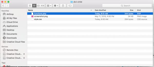 files for divi child theme