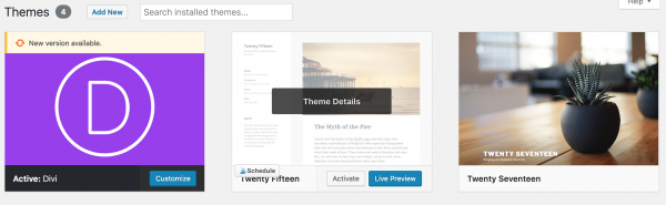 installed themes
