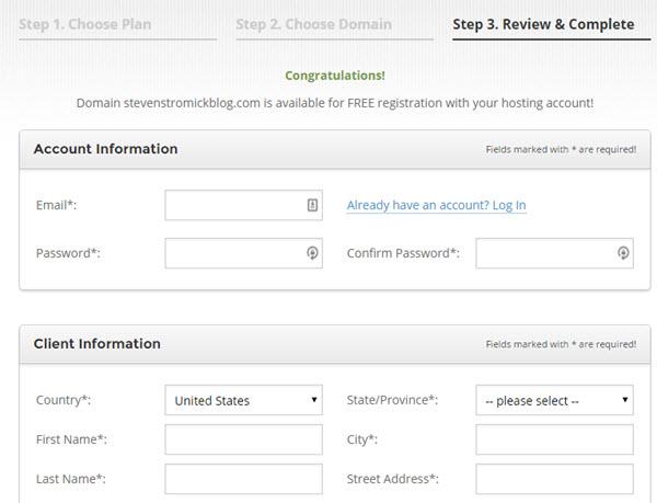 hosting account setup