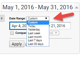 how to select a custom time period