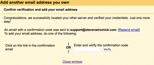 confirm verification of email address