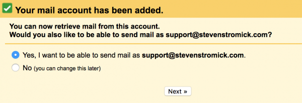 send mail setup step 1